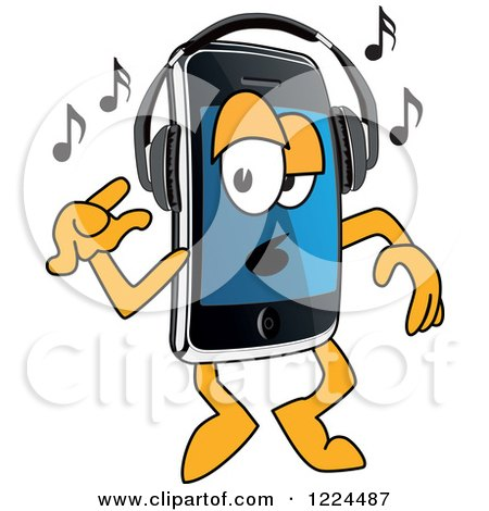 Clipart of a Smart Phone Mascot Character Dancing and Listening to Music - Royalty Free Vector Illustration by Toons4Biz