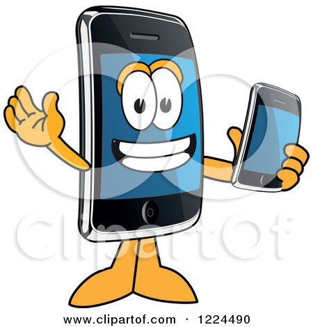 Clipart of a Smart Phone Mascot Character Holding Another Telephone - Royalty Free Vector Illustration by Toons4Biz