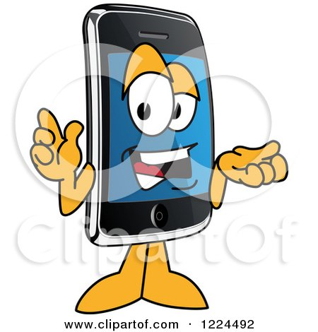 Clipart of a Smart Phone Mascot Character Gesturing and Talking - Royalty Free Vector Illustration by Toons4Biz