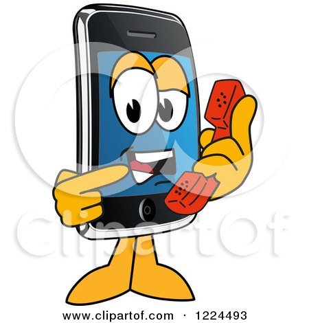 Clipart of a Smart Phone Mascot Character Holding a Telephone - Royalty Free Vector Illustration by Toons4Biz