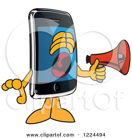 Clipart of a Smart Phone Mascot Character Screaming into a Megaphone - Royalty Free Vector Illustration by Toons4Biz