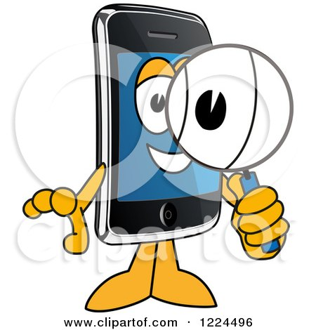 Clipart of a Smart Phone Mascot Character Using a Magnifying Glass - Royalty Free Vector Illustration by Toons4Biz