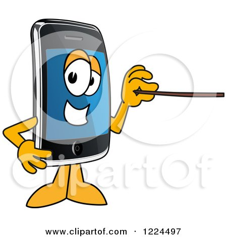 Clipart of a Smart Phone Mascot Character Holding a Pointer Stick - Royalty Free Vector Illustration by Toons4Biz