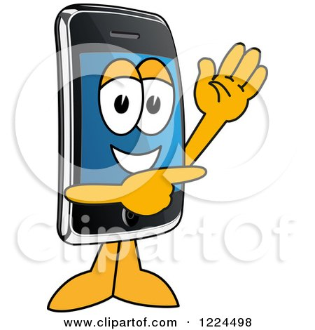 Clipart of a Smart Phone Mascot Character Waving and Pointing - Royalty Free Vector Illustration by Toons4Biz