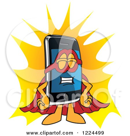 Clipart of a Super Smart Phone Mascot Character - Royalty Free Vector Illustration by Toons4Biz