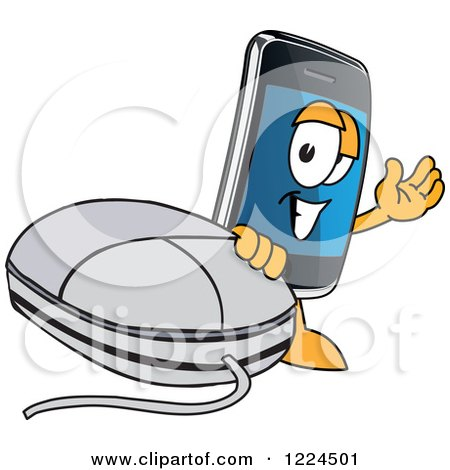 Clipart of a Smart Phone Mascot Character with a Computer Mouse - Royalty Free Vector Illustration by Toons4Biz