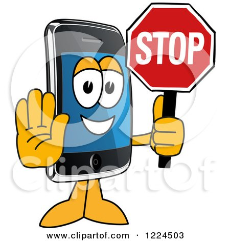 Clipart of a Smart Phone Mascot Character Holding a Stop Sign - Royalty Free Vector Illustration by Toons4Biz