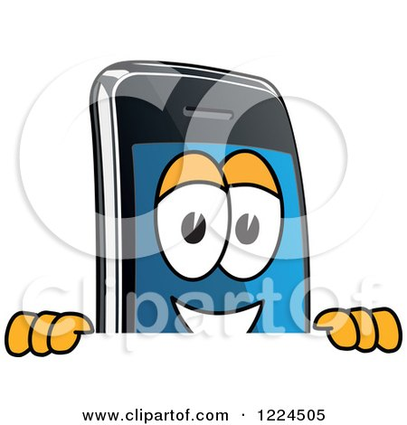 Clipart of a Smart Phone Mascot Character Looking over a Sign - Royalty Free Vector Illustration by Toons4Biz