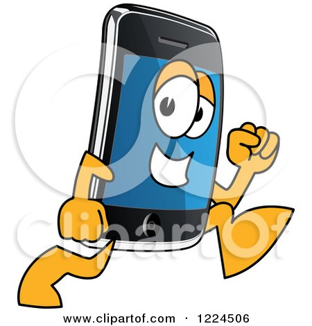Clipart of a Smart Phone Mascot Character Running - Royalty Free Vector Illustration by Toons4Biz
