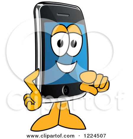 Clipart of a Smart Phone Mascot Character Pointing Outwards - Royalty Free Vector Illustration by Toons4Biz