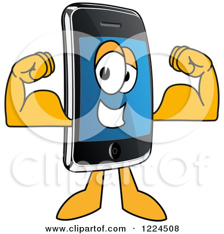 Clipart of a Smart Phone Mascot Character Flexing - Royalty Free Vector Illustration by Toons4Biz