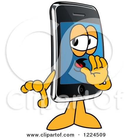 Clipart of a Smart Phone Mascot Character Whispering - Royalty Free Vector Illustration by Toons4Biz