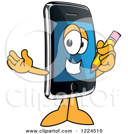 Clipart of a Smart Phone Mascot Character Holding a Pencil - Royalty Free Vector Illustration by Toons4Biz