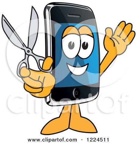 Smart Phone Mascot Character Holding Scissors Posters, Art Prints