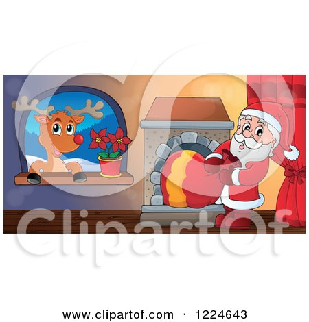Clipart of Santa Pulling His Sack Through a Fireplace and Rudolph in a Window - Royalty Free Vector Illustration by visekart
