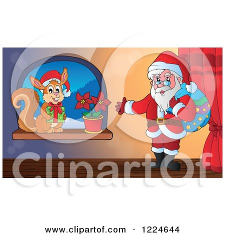 Clipart of Santa and a Christmas Squirrel by a Window - Royalty Free Vector Illustration by visekart