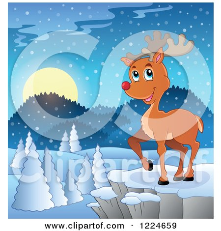Clipart of a Red Nosed Christmas Reindeer on a Cliff over a Winter Landscape - Royalty Free Vector Illustration by visekart