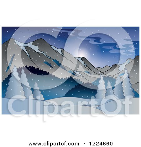 Clipart of a Snowy Winter Landscape with Mountains - Royalty Free Vector Illustration by visekart