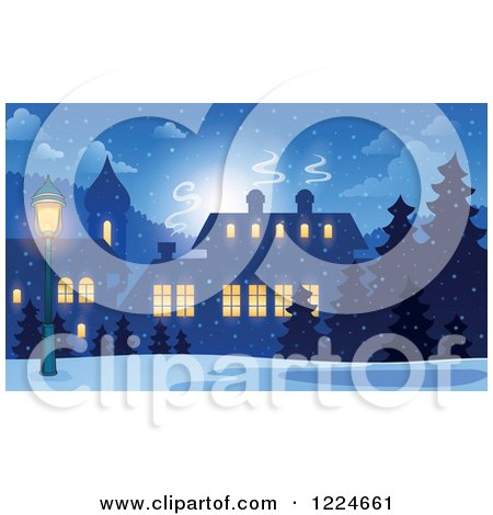 Clipart of a Snowy Winter Village with Illuminated Windows - Royalty Free Vector Illustration by visekart