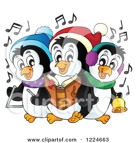 Clipart of Penguins Singing Christmas Carols - Royalty Free Vector Illustration by visekart