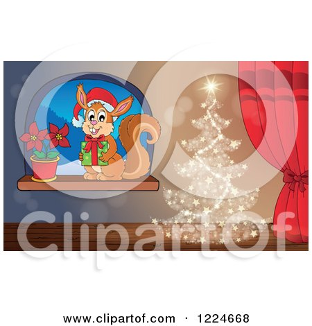 Clipart of a Magical Christmas Tree by a Window with a Squirrel and Poinsettia - Royalty Free Vector Illustration by visekart