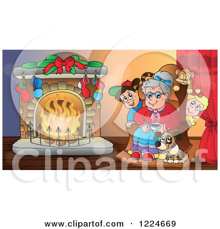 Clipart of a Granny with Pets and Children Around a Fireplace on Christmas Eve - Royalty Free Vector Illustration by visekart