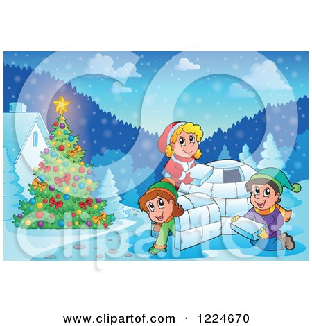 Clipart of a Happy Children Building an Igloo in the Snow by a Christmas Tree - Royalty Free Vector Illustration by visekart