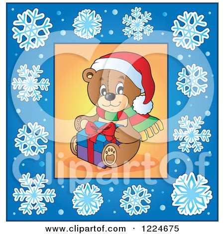 Clipart of a Christmas Teddy Bear in a Blue Snowflake Frame - Royalty Free Vector Illustration by visekart