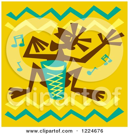 Clipart of a Tribal Bongo Player over Yellow with Zig Zags - Royalty Free Vector Illustration by Andy Nortnik