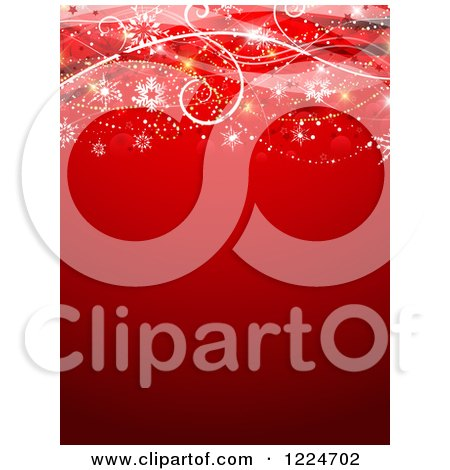 Clipart of a Red Christmas Background with Swirls and Snowflakes - Royalty Free Vector Illustration by KJ Pargeter