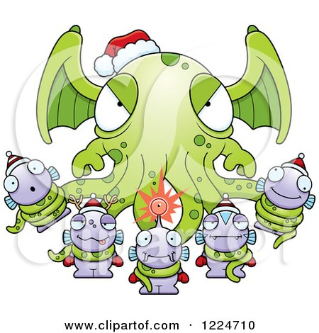 Clipart of a Winged Tentacled Christmas Monster Holding Little Monsters - Royalty Free Vector Illustration by Cory Thoman