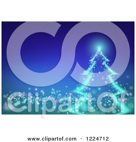 Clipart of a Magical Christmas Tree Glowing over Gradient Blue - Royalty Free Vector Illustration by dero