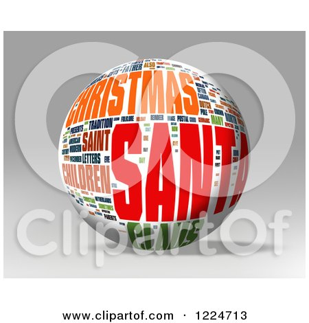 Clipart of a 3d Christmas Word Collage Sphere on Gray - Royalty Free Illustration by MacX