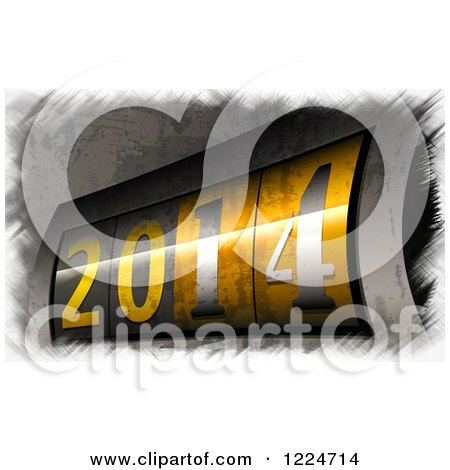 Clipart of a 3d Counter Display at Year 2014 - Royalty Free Illustration by MacX