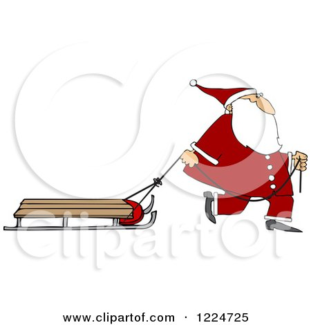 Clipart of Santa Pulling a Sled - Royalty Free Vector Illustration by djart