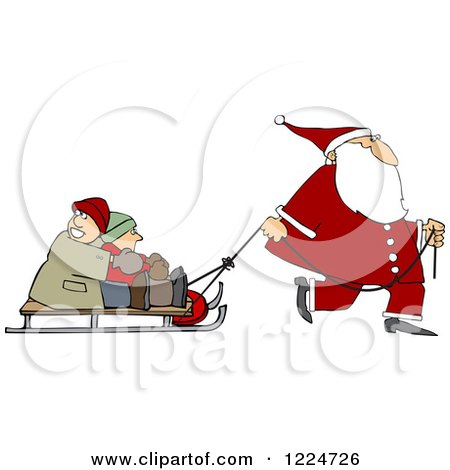 Clipart of Santa Pulling Kids on a Sled - Royalty Free Vector Illustration by djart
