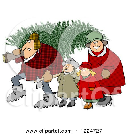 Clipart of a Happy Family with a Fresh Cut Christmas Tree - Royalty Free Illustration by djart