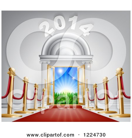 Clipart of a Red Carpet Leading to a 2014 New Year Doorway 2 - Royalty Free Vector Illustration by AtStockIllustration