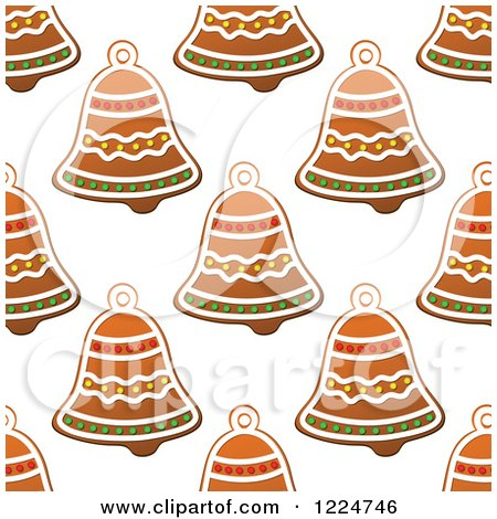 Clipart of a Seamless Background Pattern of Bell Shaped Christmas Gingerbread Cookies 2 - Royalty Free Vector Illustration by Vector Tradition SM