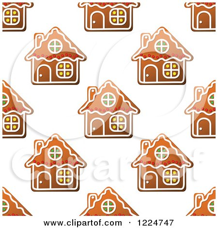 Clipart of a Seamless Pattern Background of Christmas Gingerbread House Cookies 2 - Royalty Free Vector Illustration by Vector Tradition SM