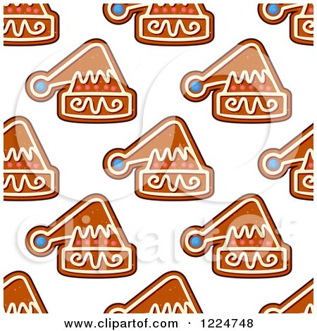 Clipart of a Seamless Background Pattern of Santa Hat Shaped Christmas Gingerbread Cookies - Royalty Free Vector Illustration by Vector Tradition SM