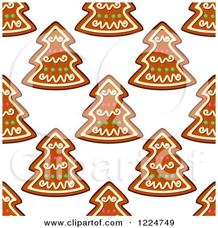 Clipart of a Seamless Background Pattern of Tree Shaped Christmas Gingerbread Cookies - Royalty Free Vector Illustration by Vector Tradition SM