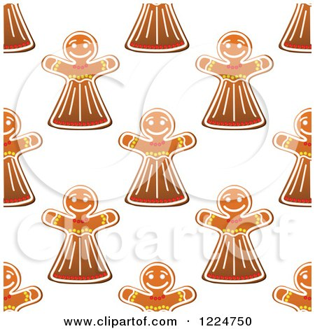 Clipart of a Seamless Pattern Background of Christmas Gingerbread Woman Cookies - Royalty Free Vector Illustration by Vector Tradition SM