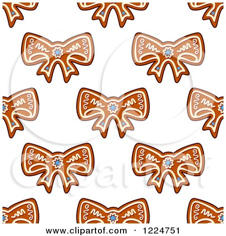 Clipart of a Seamless Background Pattern of Bow Shaped Christmas Gingerbread Cookies 2 - Royalty Free Vector Illustration by Vector Tradition SM
