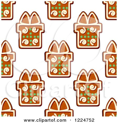 Clipart of a Seamless Background Pattern of Gift Shaped Christmas Gingerbread Cookies 2 - Royalty Free Vector Illustration by Vector Tradition SM