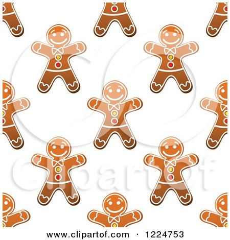 Clipart of a Seamless Pattern Background of Christmas Gingerbread Man Cookies 2 - Royalty Free Vector Illustration by Vector Tradition SM
