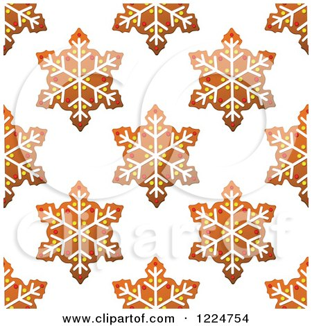 Clipart of a Seamless Background Pattern of Snowflake Shaped Christmas Gingerbread Cookies - Royalty Free Vector Illustration by Vector Tradition SM