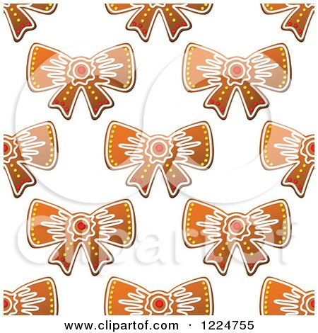 Clipart of a Seamless Background Pattern of Bow Shaped Christmas Gingerbread Cookies - Royalty Free Vector Illustration by Vector Tradition SM