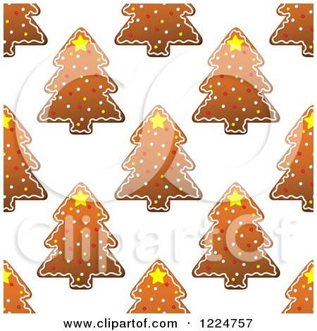 Clipart of a Seamless Background Pattern of Tree Shaped Christmas Gingerbread Cookies 2 - Royalty Free Vector Illustration by Vector Tradition SM