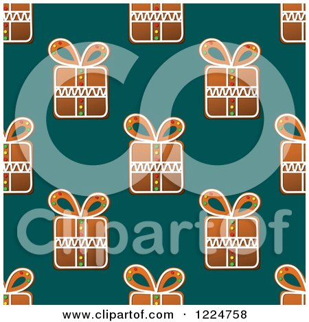 Clipart of a Seamless Background Pattern of Gift Shaped Christmas Gingerbread Cookies over Teal - Royalty Free Vector Illustration by Vector Tradition SM